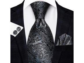 kravatovy set cerny vzorovany slavnostni elegantni