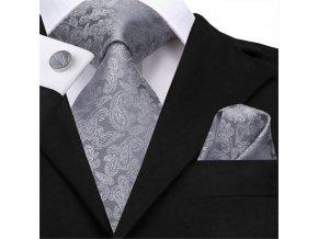 kravata panska seda stribrna svatebni vzor