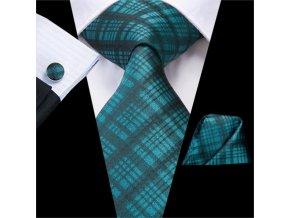 kravatovy set modry karovany