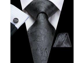 kravatovy set cerny metalicky vzorovany kapesnicek manzety