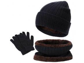 zimni cepice sala rukavice cerna