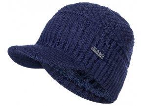 panska cepice pletena kozisek zimni ksiltovka modra