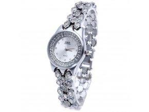 Elegantní dámské hodinky G&D kulaté s kamínky - stříbrné