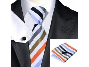 Kravatový set bílýs širokými barevnými pruhy, 100% hedvábí