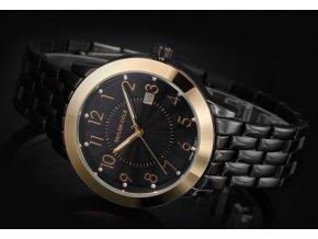 Atraktivní dámské hodinky Taylor Cole s datumem - černo-zlaté Aglaia