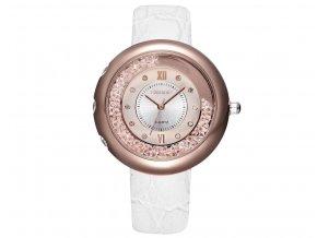 Atraktivní dámské hodinky zn. Skone s kamínky - bílé s růžovým zlatem