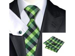 Kravatový set kostkovaný zelený, 100% hedvábí