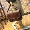 Kožená taška crossbody - hnědá