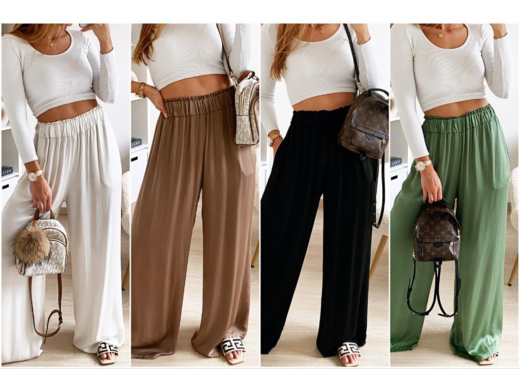 Volné saténové kalhoty Amy