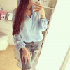 Saténová košile modrá
