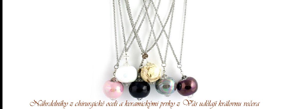 Dámské náhrdelníky z chirurgické oceli s řeckou keramikou