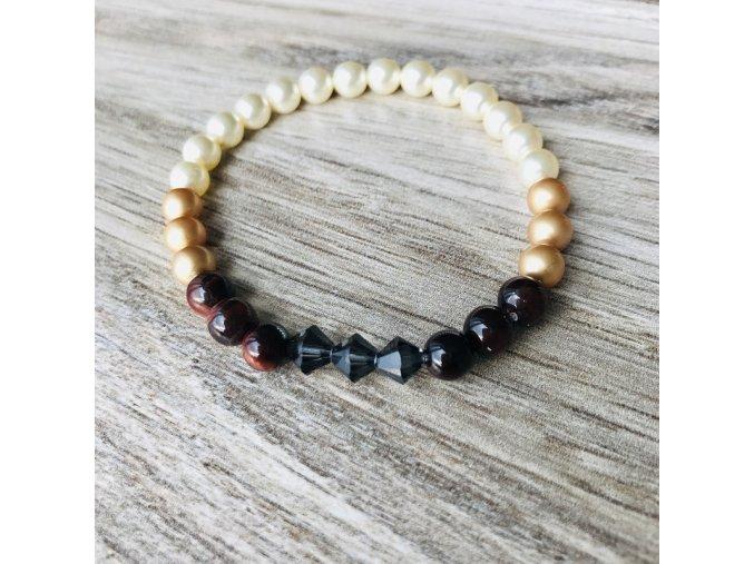 Perlový náramek Brown s krystaly a minerály 6 mm | Elegantní náramek