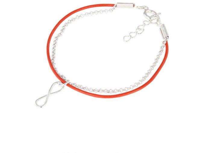 stribrny naramek se smyckou nekonecno ag 925 1000 kozeny naramek cervena barva .png