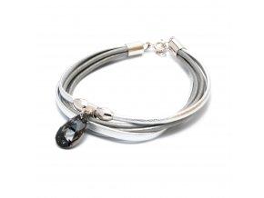Kožený náramek s prvky stříbra Ag 925/1000 a s krystalem MADE WITH SWAROVSKI® ELEMENTS