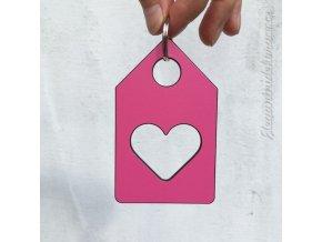 klíčenka domek srdce růžová