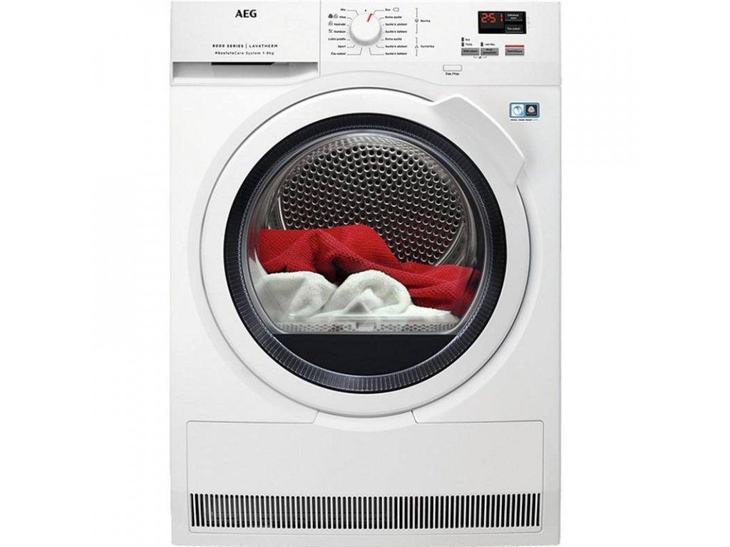 Sušička prádla AEG AbsoluteCare® T8DBK68WC  CASHBACK 2000 Kč zpět do 15. dubna. Více na https://www.aeg.cz/local/promotions/zbavte-se-stereotypu/
