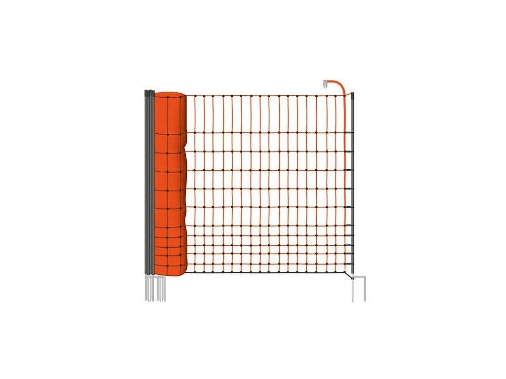Síť ohradníku, pro drůbež, výška 112 cm, 50 m, 16 tyčí, oranžová