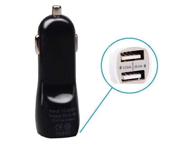 2xUSB CL adapter autonabíječka 12V - černý