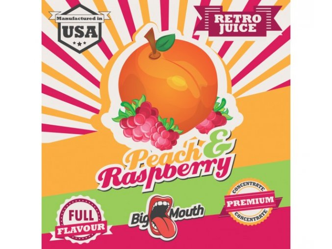 prichut aroma na michani do bazi big mouth retro juice 10ml peach a raspberry