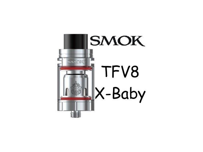 smok smoktech tfv8 xbaby clearomizer silver stribrny