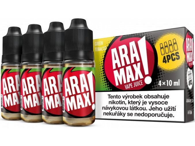 e liquid aramax 4pack green tobacco 4x10ml 3mg