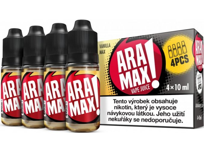 e liquid aramax 4pack vanilla max 4x10ml 3mg