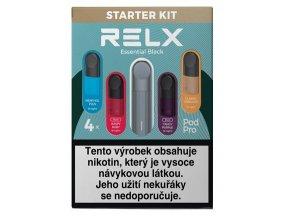 relx essential elektronicka cigareta 350mah black cerna starter kit