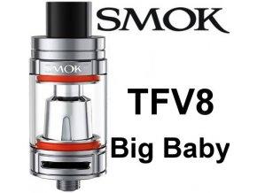smok smoktech tfv8 big baby clearomizer silver nerezovy