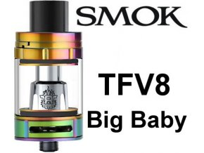 smok smoktech tfv8 big baby clearomizer rainbow duhovy