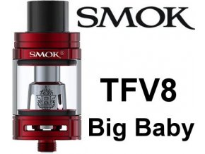 smok smoktech tfv8 big baby clearomizer red cerveny