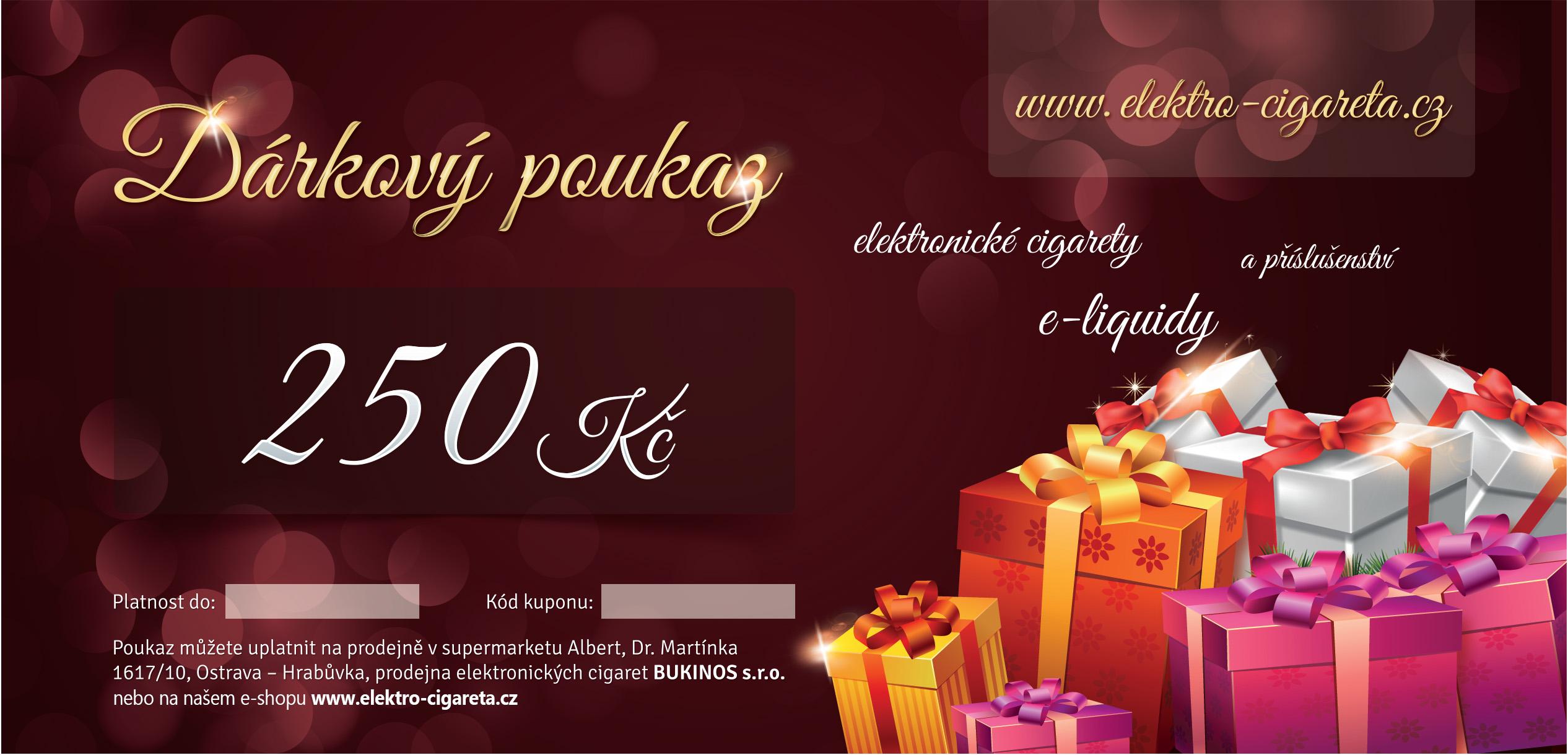 Dárkový poukaz Elektro-Cigareta.cz na nákup zboží v hodnotě 250kč