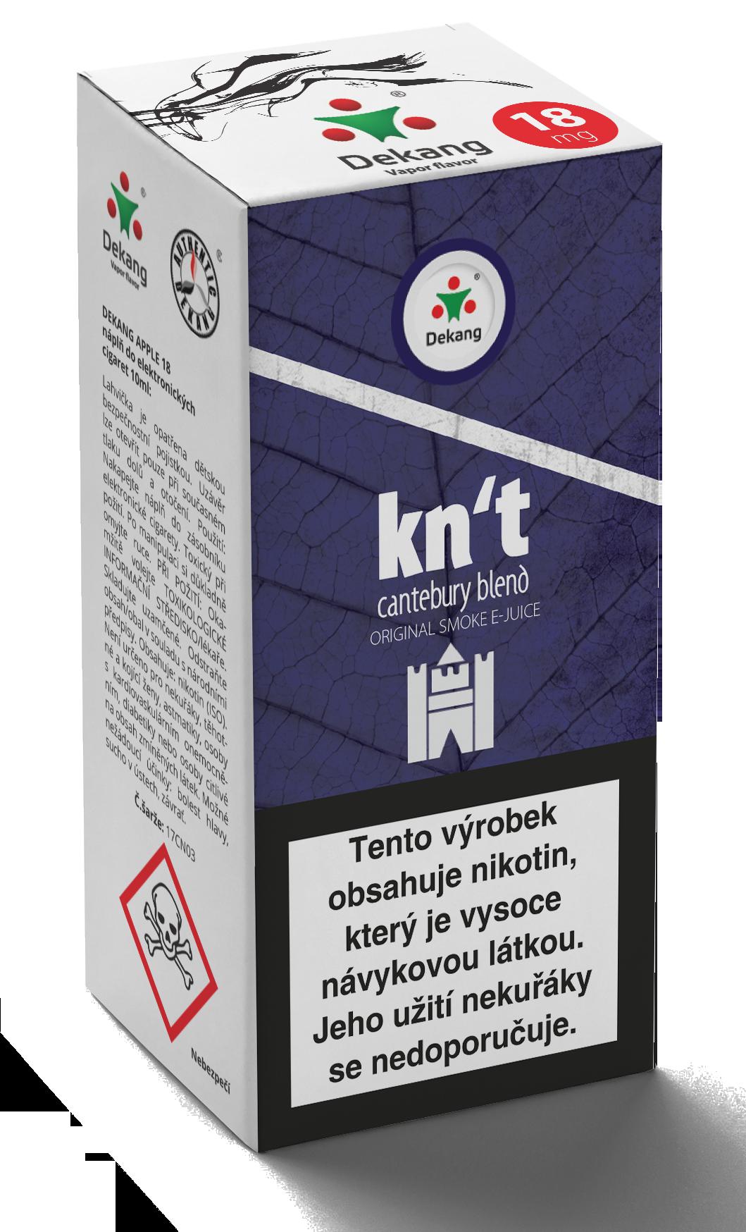 E-liquid Dekang 10ml Kn´t - cantebury Množství nikotinu: 0mg