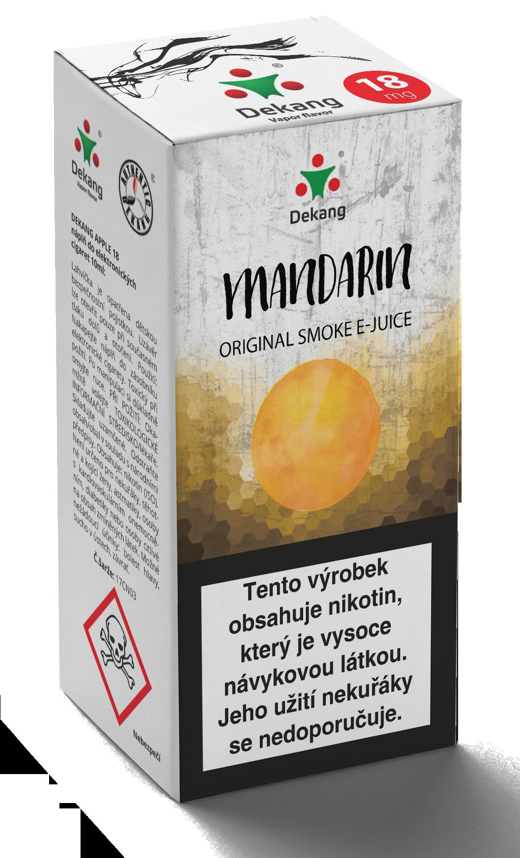 E-liquid Dekang 10ml Mandarin - mandarinka Množství nikotinu: 6mg