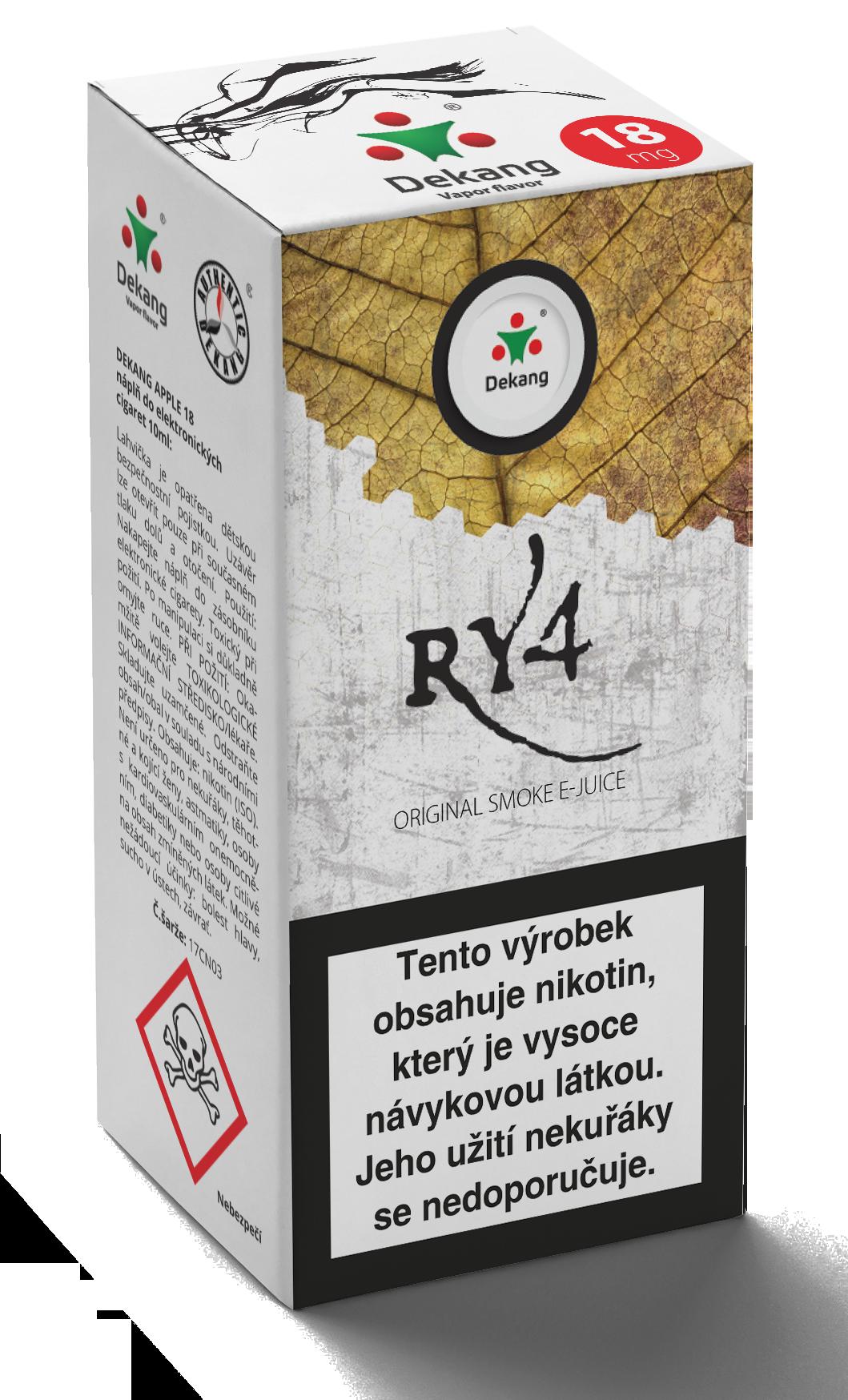 E-liquid Dekang 10ml RY4 (směs karamelu, vanilky a tabáku) Množství nikotinu: 0mg
