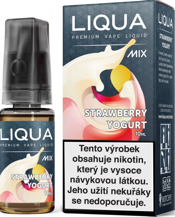 E-liquid LIQUA MIX Strawberry Yogurt 10ml (Jahodový jogurt) Množství nikotinu: 18mg
