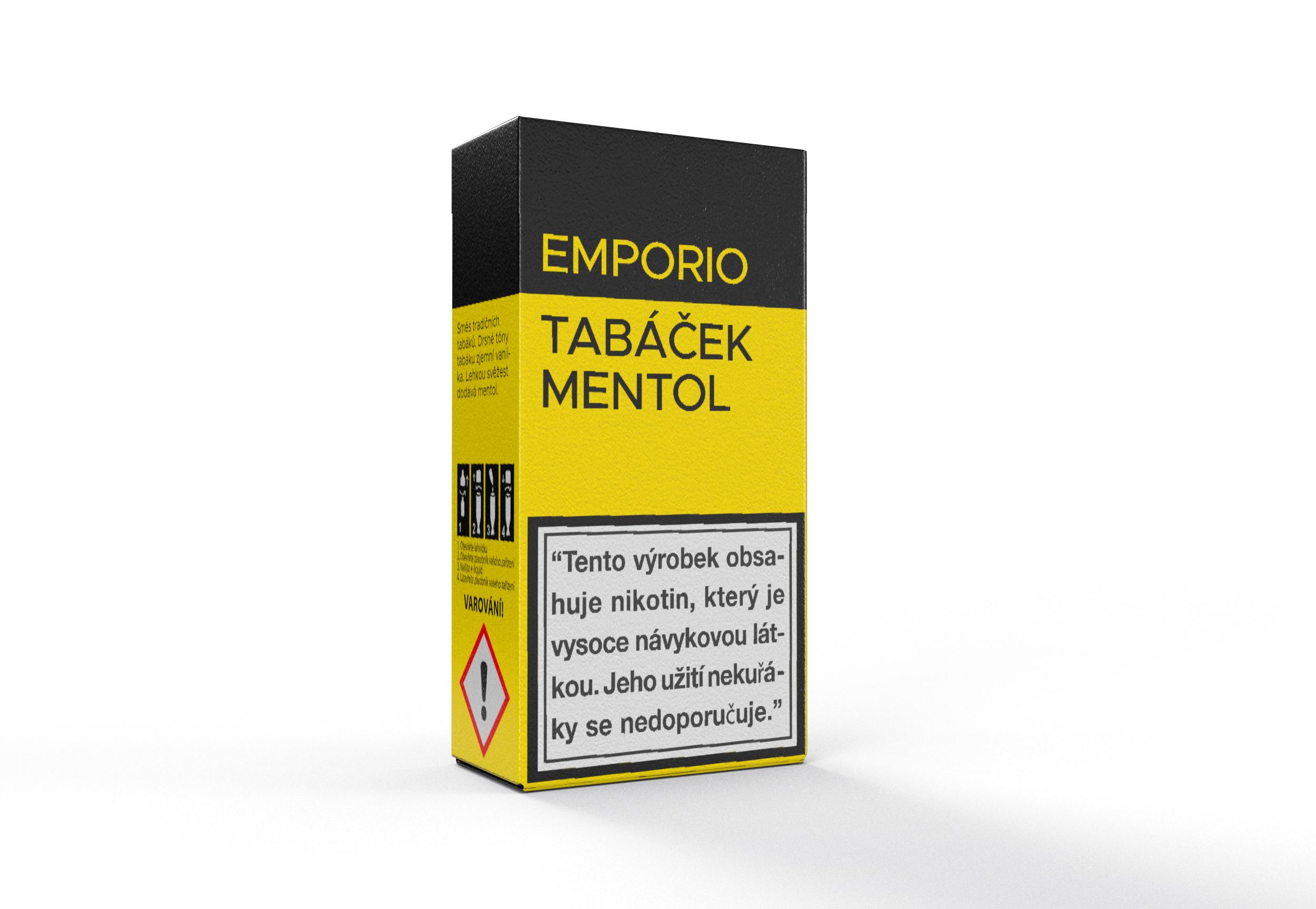 E-liquid EMPORIO Tobacco - Menthol (Tabáček - mentol) 10ml Množství nikotinu: 0mg