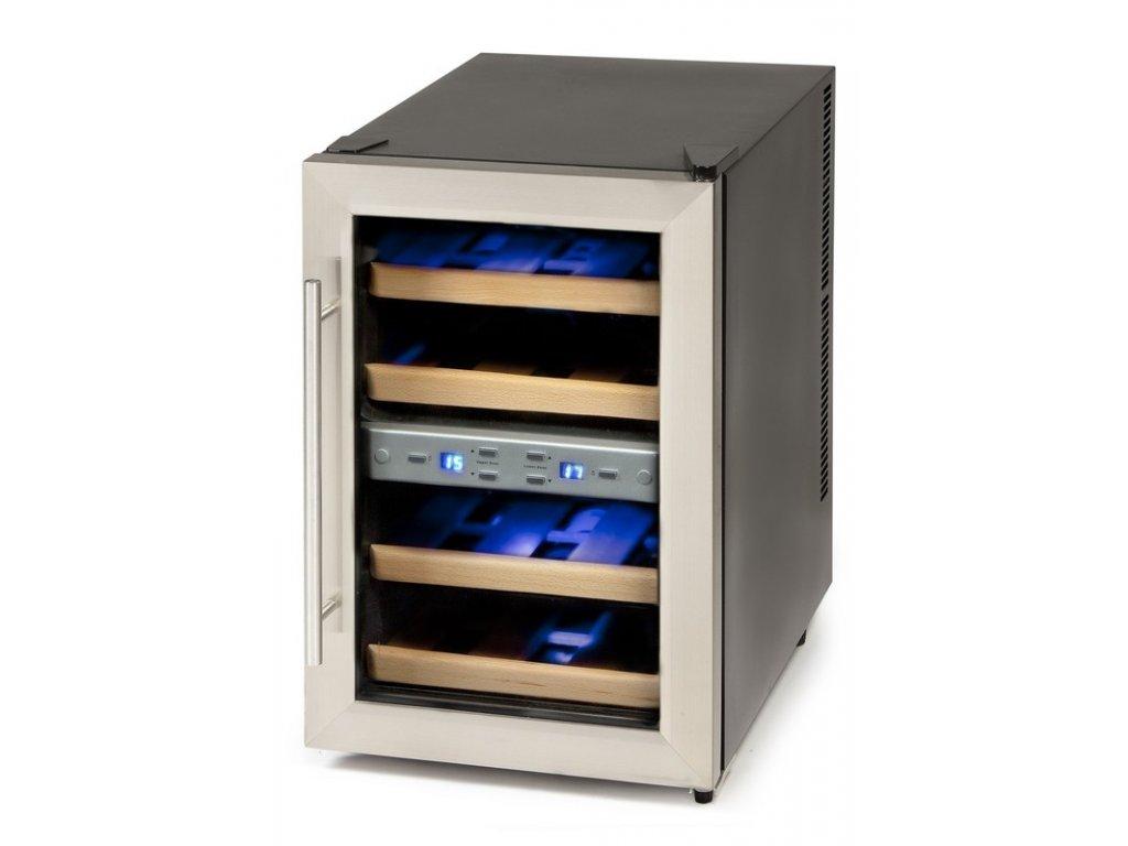 Dvouzónová termoelektrická vinotéka - DOMO DO909WK, 12 lahví