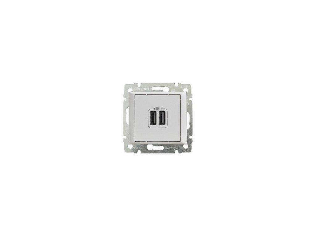 Legrand Valena Life USB nabíjačka dvojitá Biela
