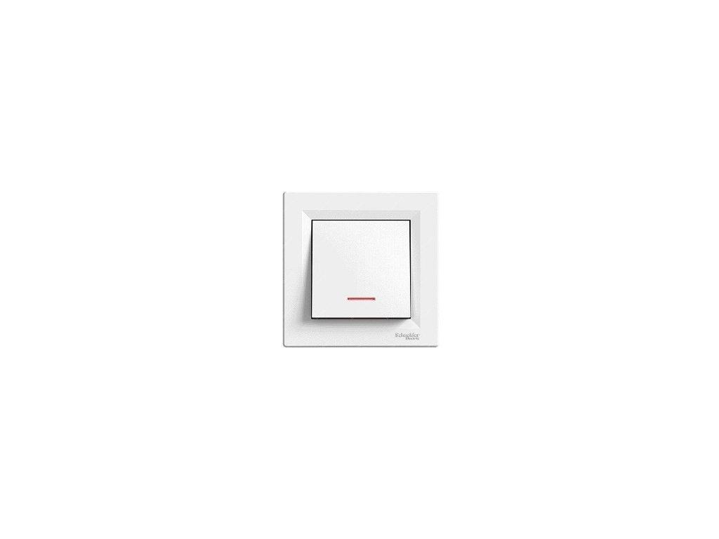 Schneider ASFORA vypínač č.1 s orientačným osvetlením biely