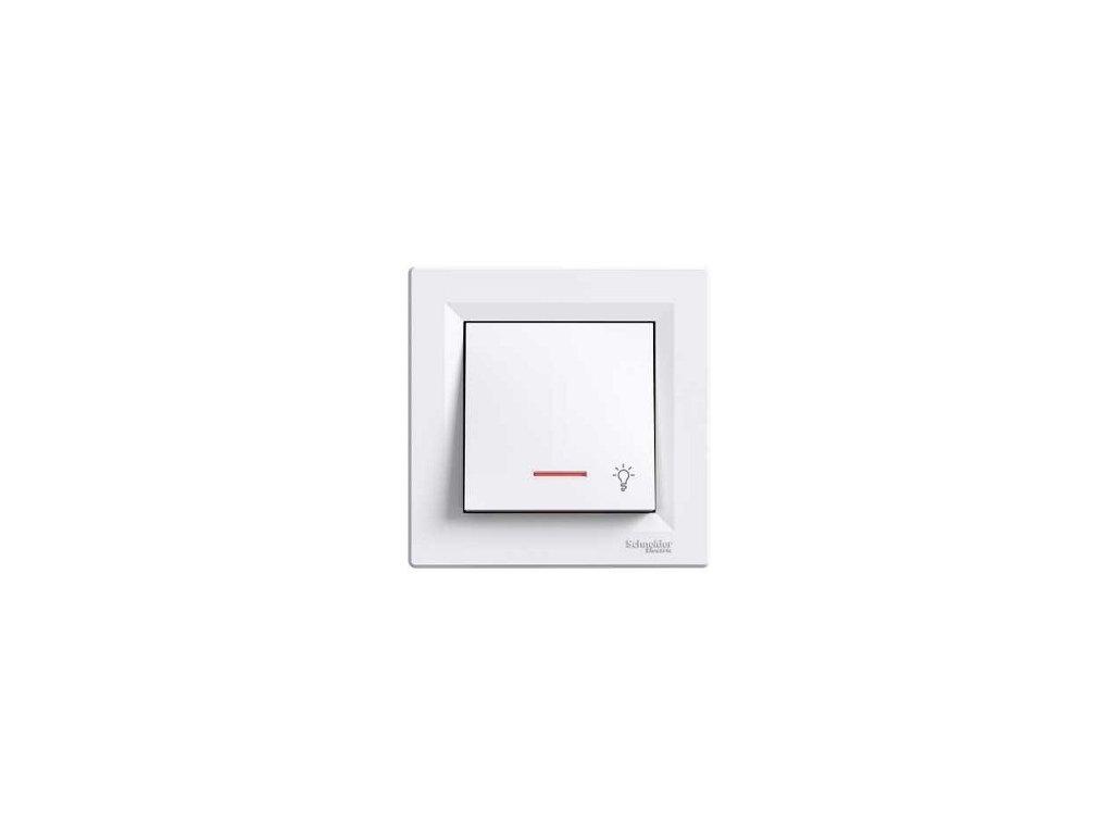 Schneider ASFORA tlačítko s orientačným osvetlením biele