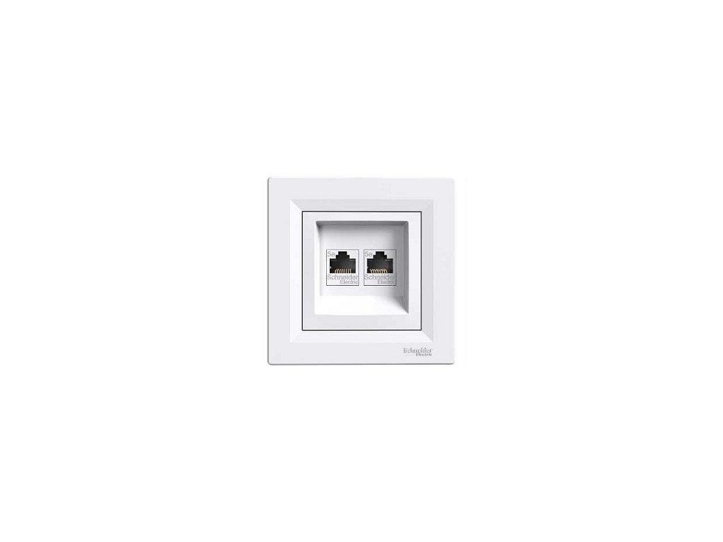 Schneider ASFORA dátová dvojzásuvka 2xRJ45 cat.6 UTP biela