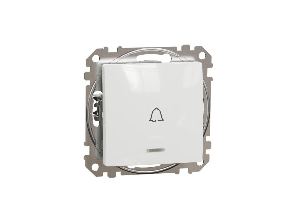 Schneider SEDNA DESIGN tlačítko č.1 0 biele s orientačným osvetlením