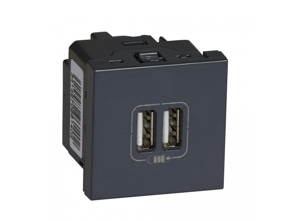 Mosaic 2x USB nabíjačka, 5V, 2400mA, čierna, 2 moduly 079194