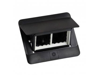 Zásuvkový box POP-UP, čierna matná, 4 moduly 654002