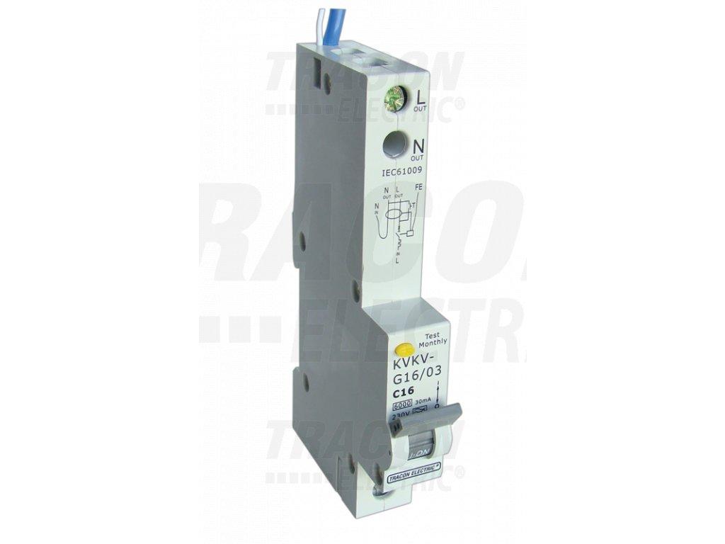 Prúdový chránič s ističom s nadprúdovou ochranou 1P C16A 100mA 10kA A/AC KVKV-G16/100