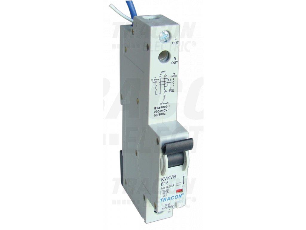 Prúdový chránič s ističom s nadprúdovou ochranou 1P B16A 30mA 10kA A/AC KVKVB-G16/30