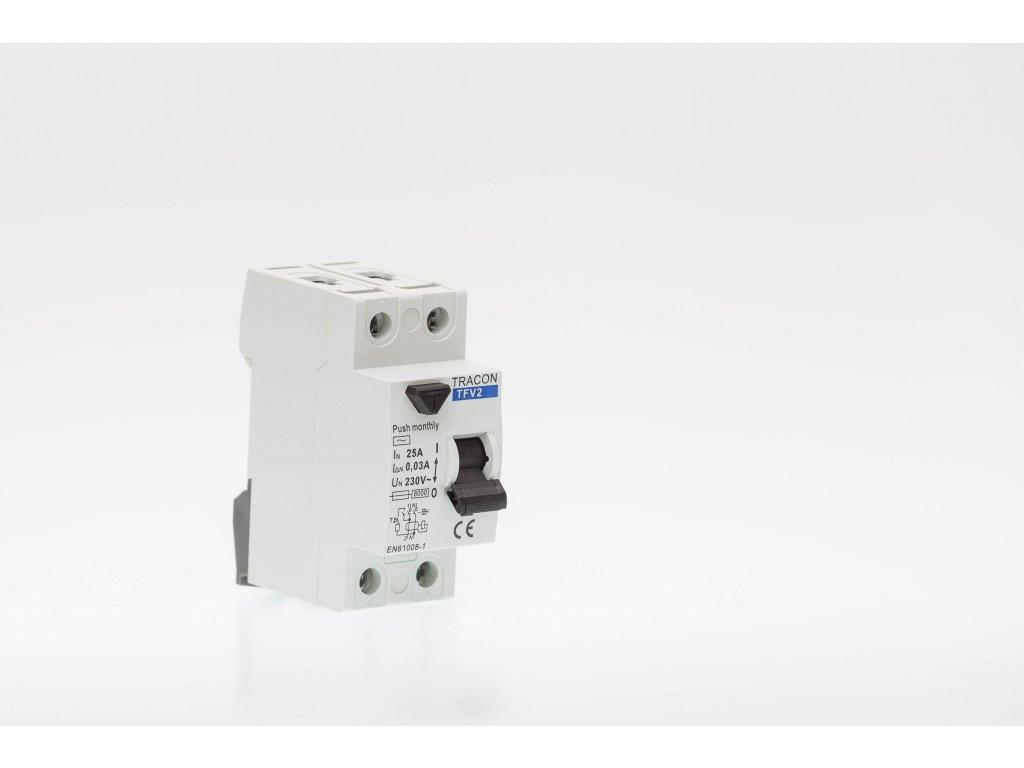 Prúdový chránič 2P 25A 100mA 6kA AC TFV2-25100