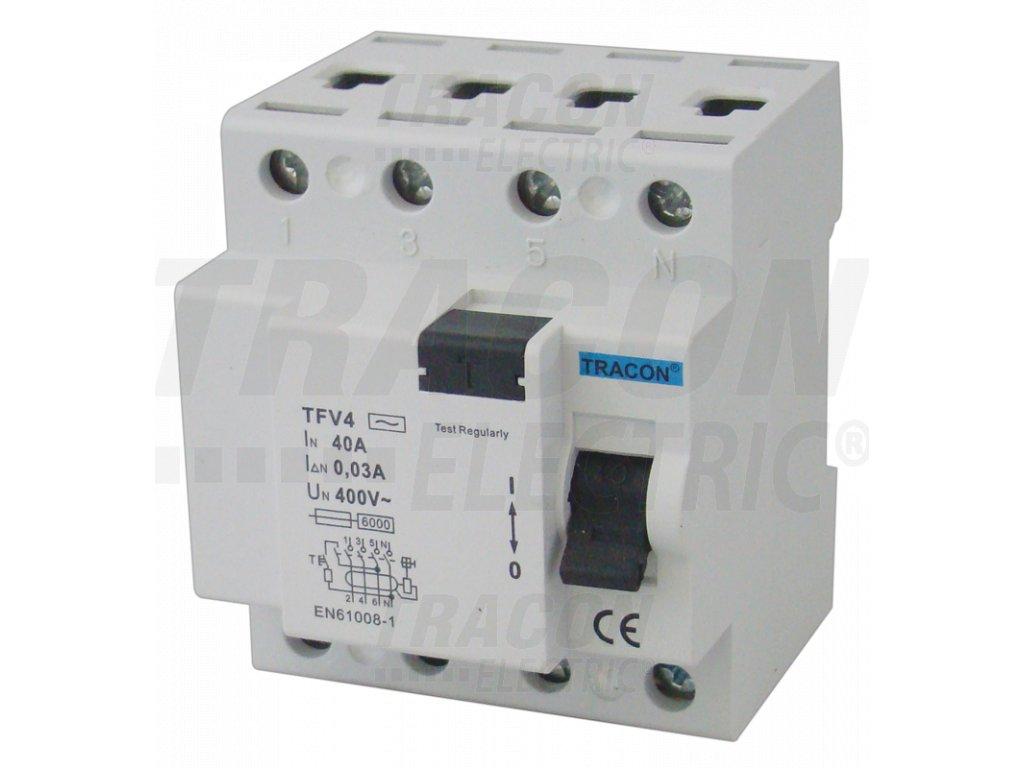 Prúdový chránič 4P 63A 30mA 6kA AC TFV4-63030