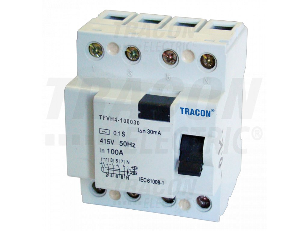 Výkonový prúdový chránič 4P 100A 30mA 6kA AC