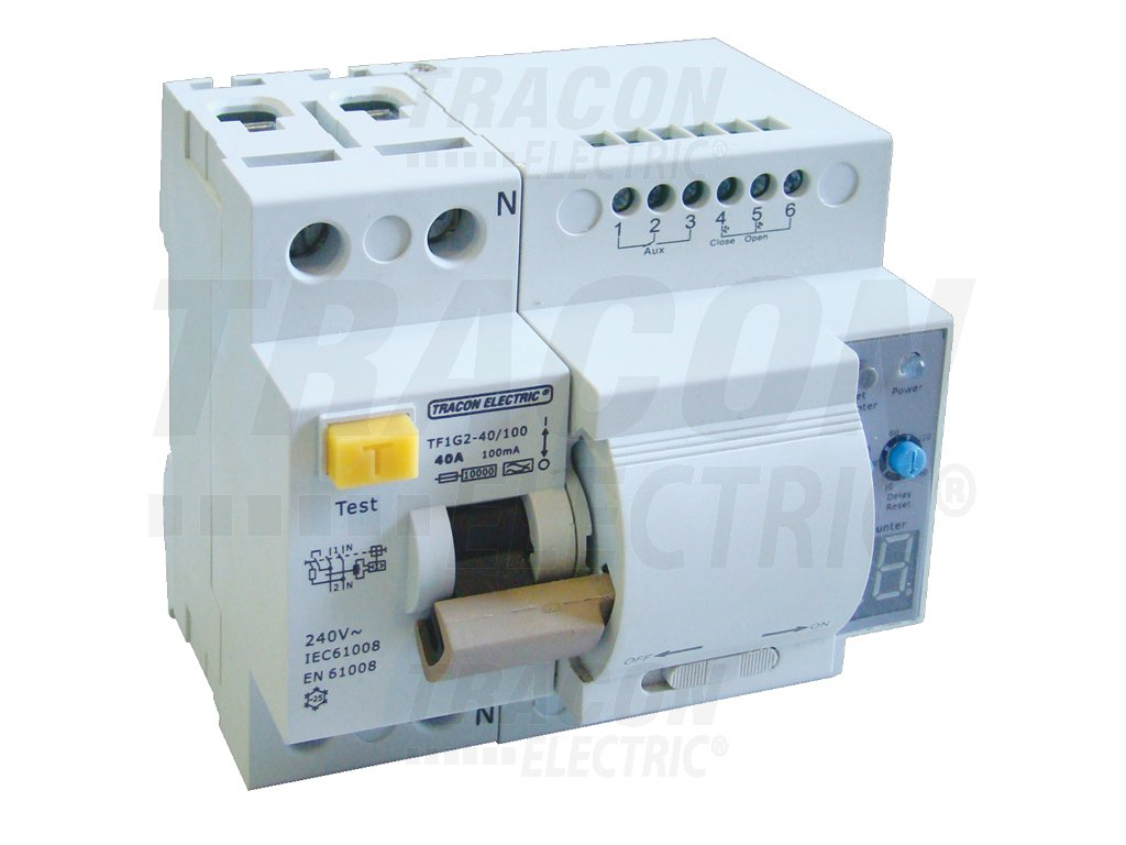 Prúdový chránič s funkciou automatického znovuzapnutia, 2P 63A, 100mA, 10kA, A / AC